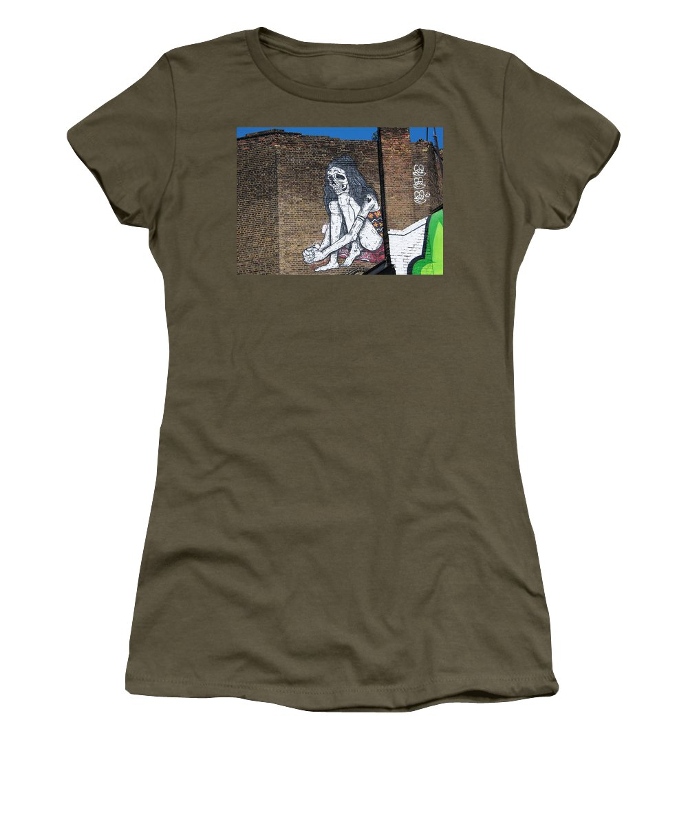 Street Art Women's T-Shirt featuring the photograph Skeleton Lady by David Resnikoff