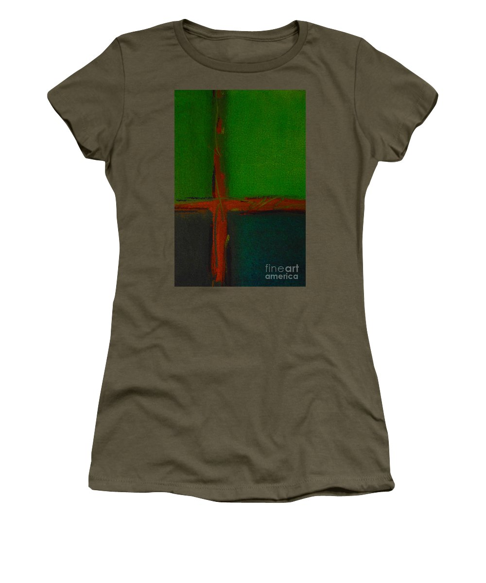 Green Women's T-Shirt featuring the painting Sky Line by Kitty Mecham