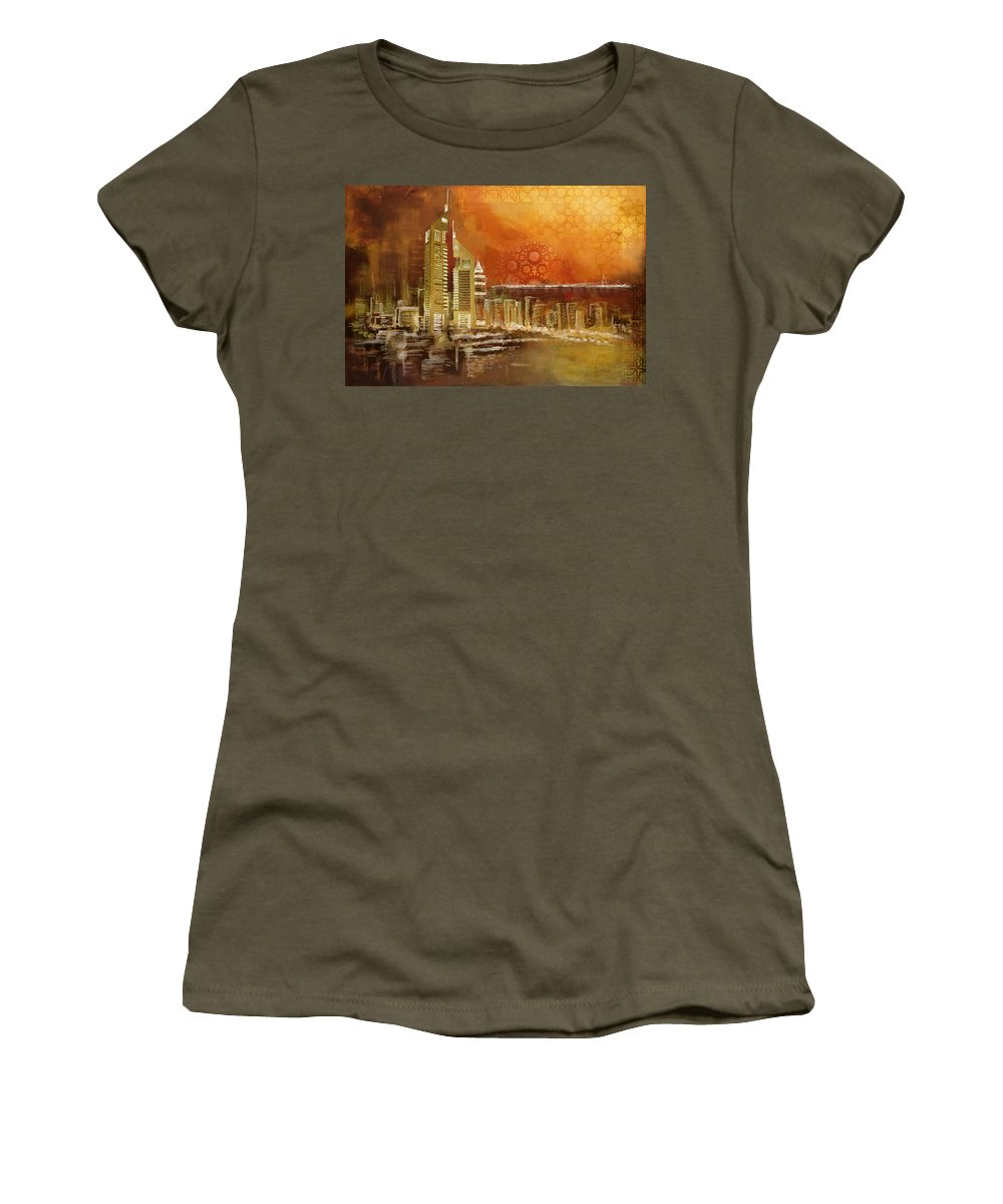 Dubai Women's T-Shirt featuring the painting Skyline View by Corporate Art Task Force