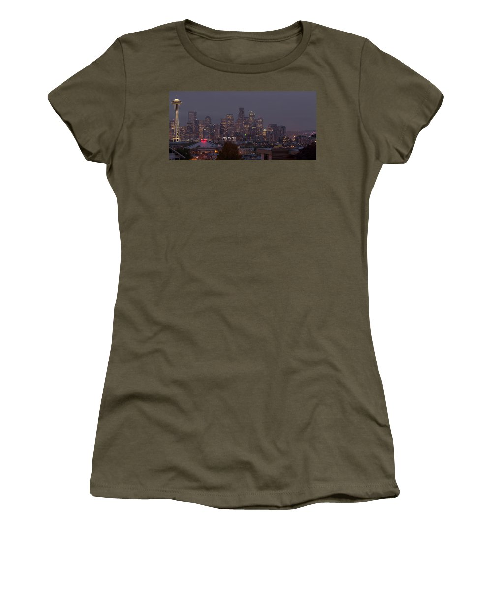 Photography Women's T-Shirt featuring the photograph Skylines At Dusk, Seattle, King County by Panoramic Images