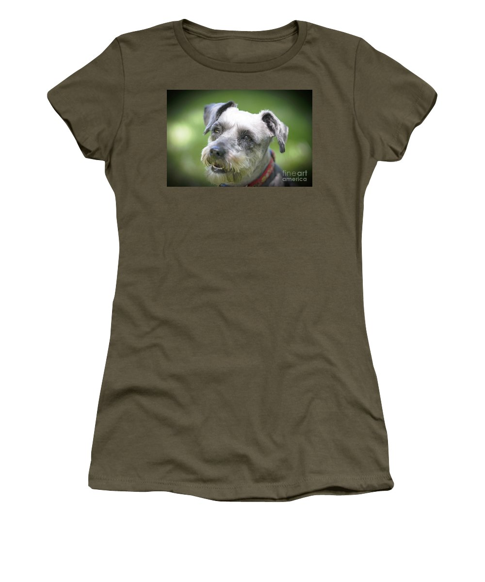 Pet Women's T-Shirt featuring the photograph Smiling Schnauzer by Elvis Vaughn