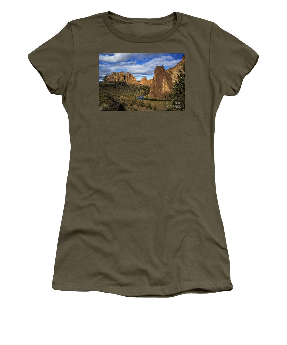 Smith Rock State Park Women's T-Shirt featuring the photograph Smith Rock State Park - Oregon by Yefim Bam