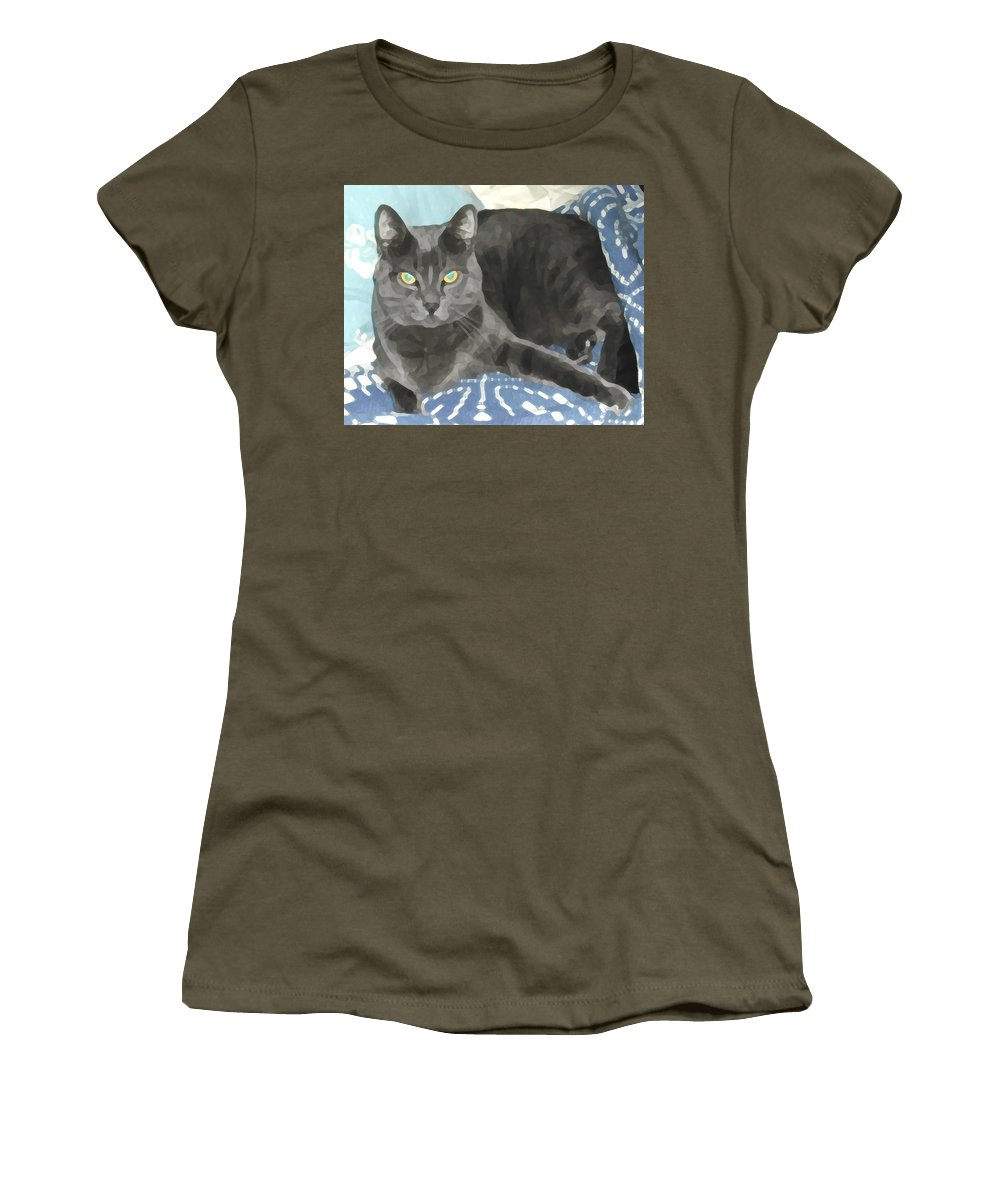 Grey Women's T-Shirt (Athletic Fit) featuring the photograph Smokey On A Blue Blanket by Jeanne A Martin