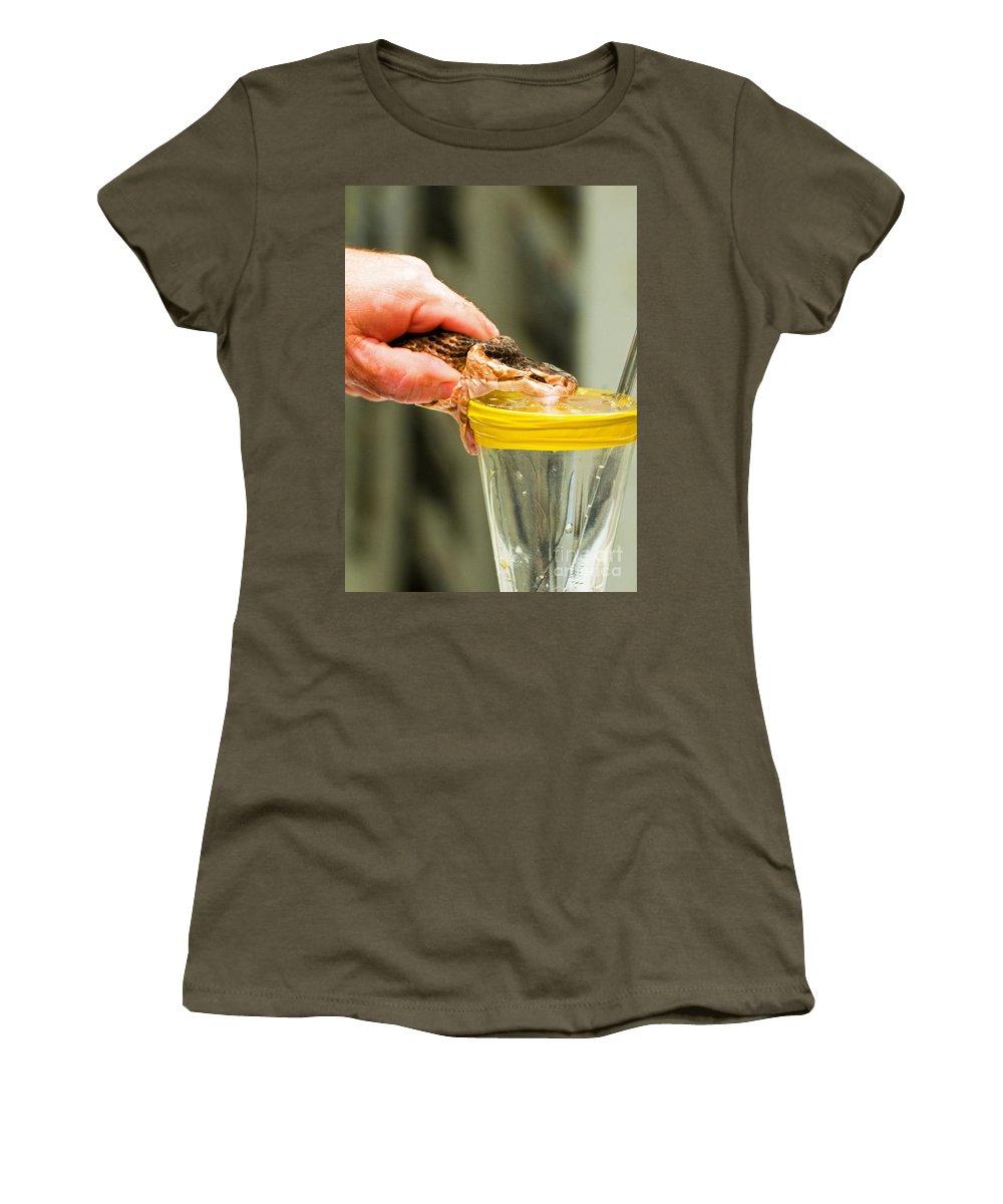 Animal Women's T-Shirt featuring the photograph Snake Venom Extraction by Millard H. Sharp
