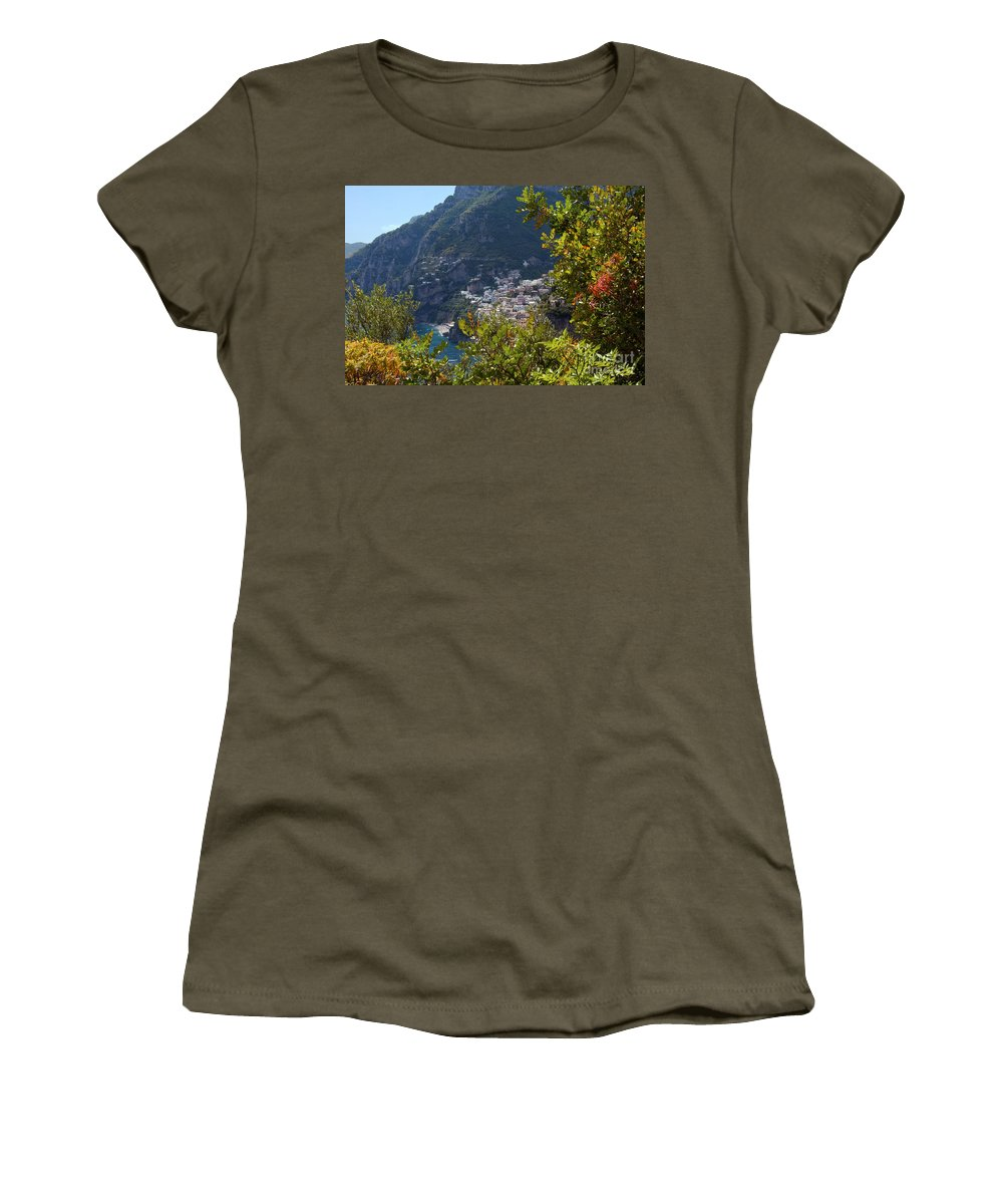 Postitano Italy Amalfi Coast Mediterranean Sea Seas Water Building Buildings Structure Structures Landscape Landscapes Cityscape Cityscapes City Cities Women's T-Shirt featuring the photograph Sneak View by Bob Phillips