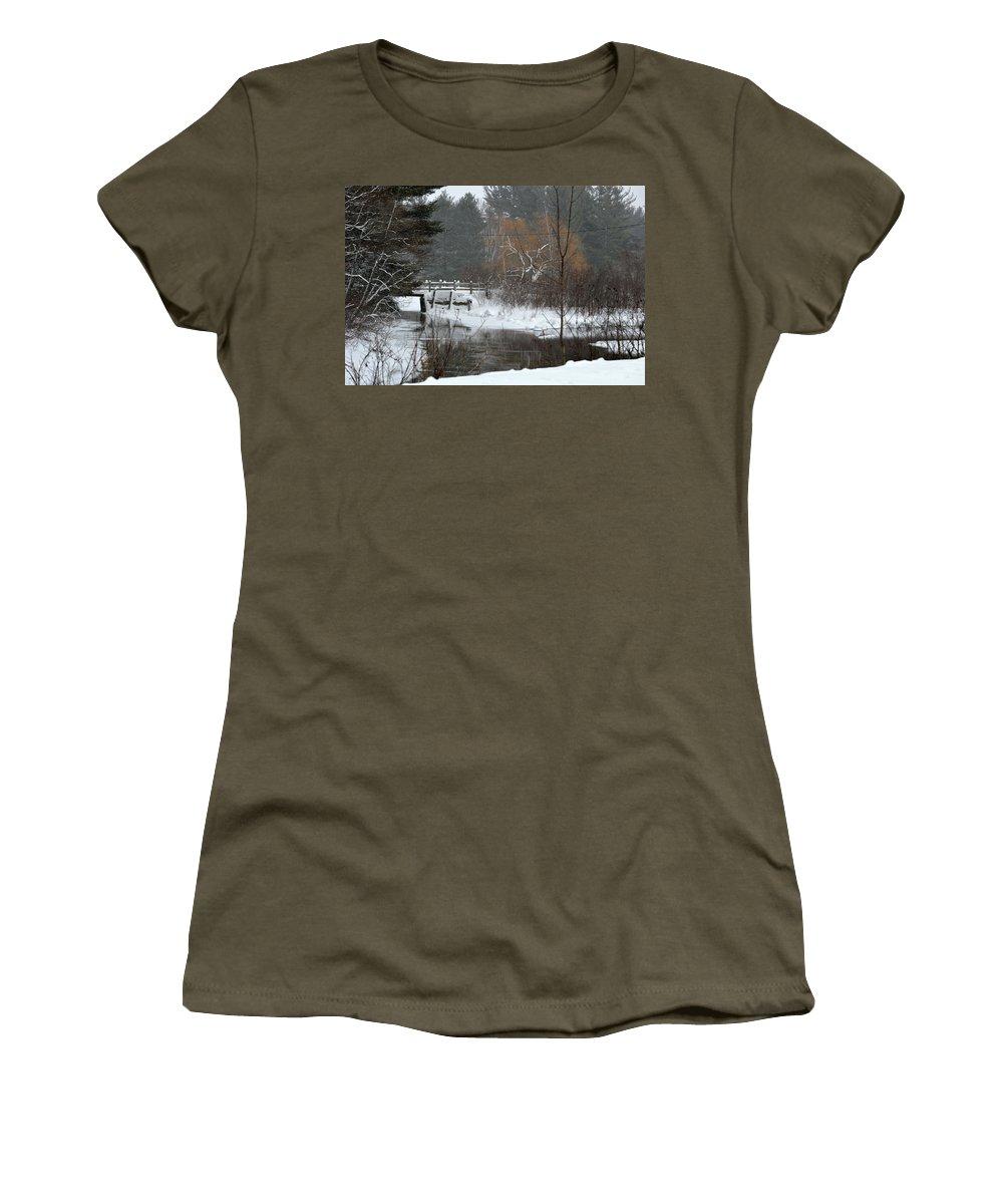 Stream Women's T-Shirt featuring the photograph Snow And Stream by Linda Kerkau
