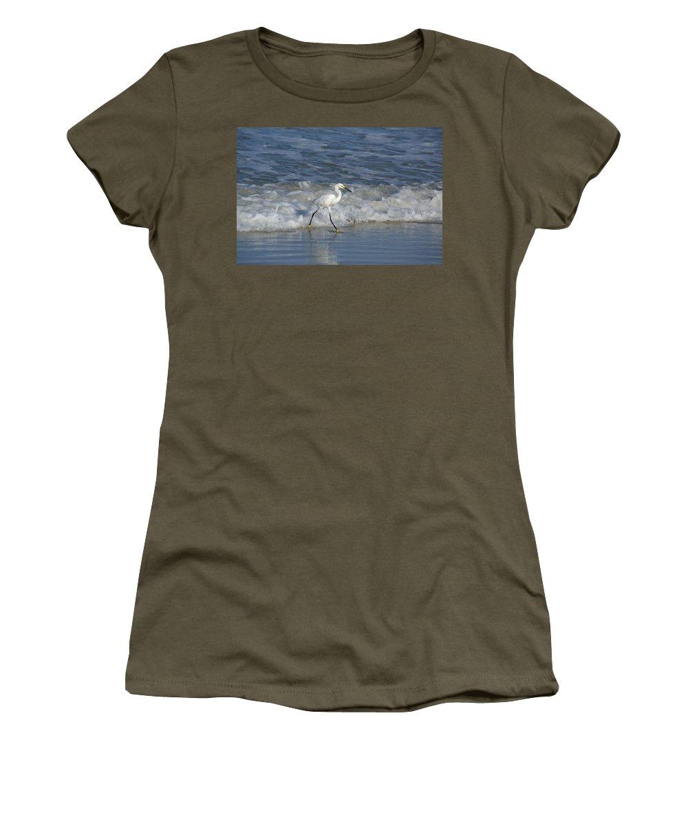 Wildlife Women's T-Shirt featuring the photograph Snowy At The Beach by Patricia Twardzik
