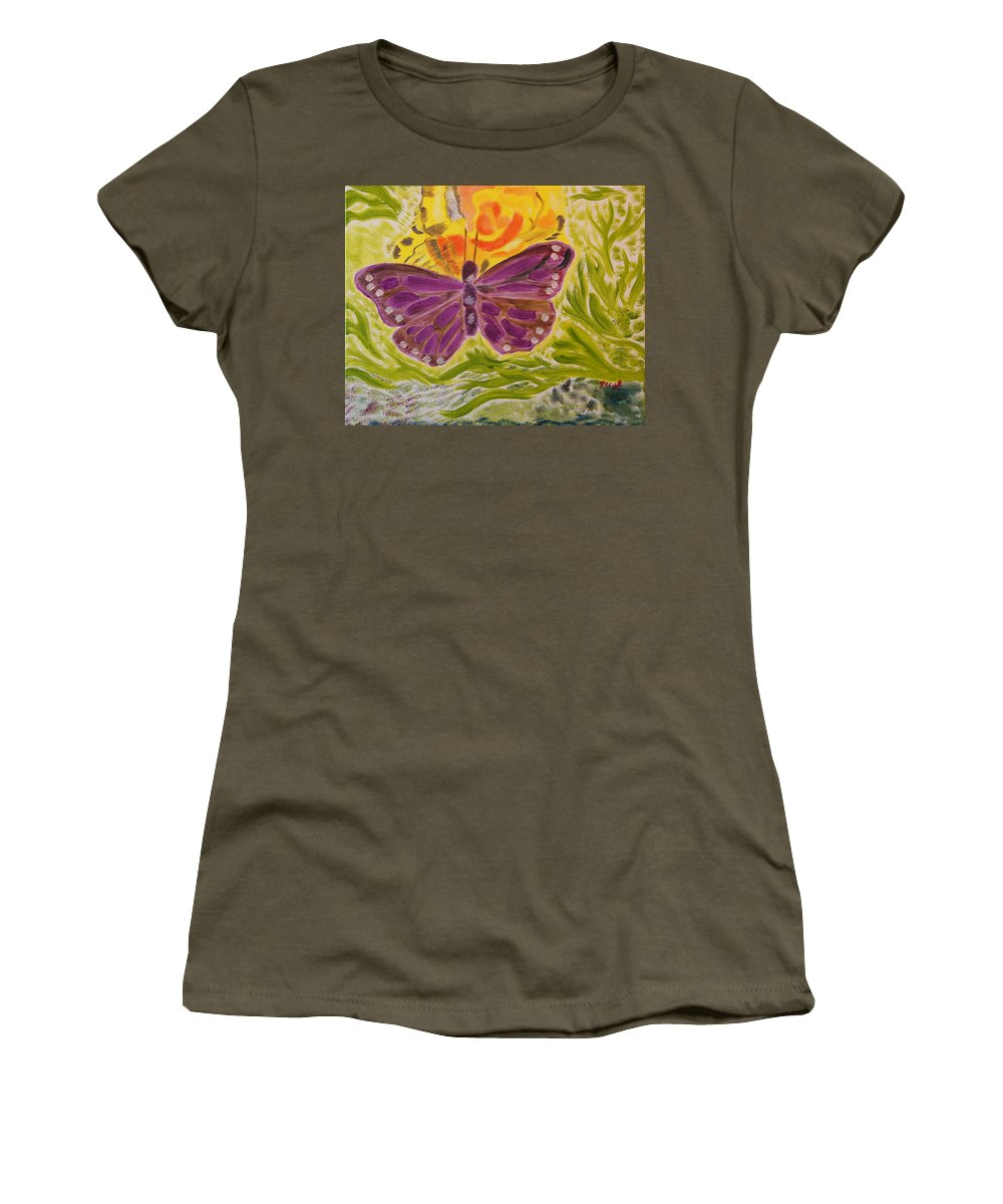 Butterfly Women's T-Shirt featuring the painting Soft Flutters by Meryl Goudey