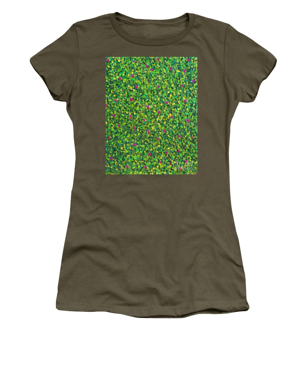 Abstract Women's T-Shirt (Athletic Fit) featuring the painting Soft Green With Pink by Dean Triolo