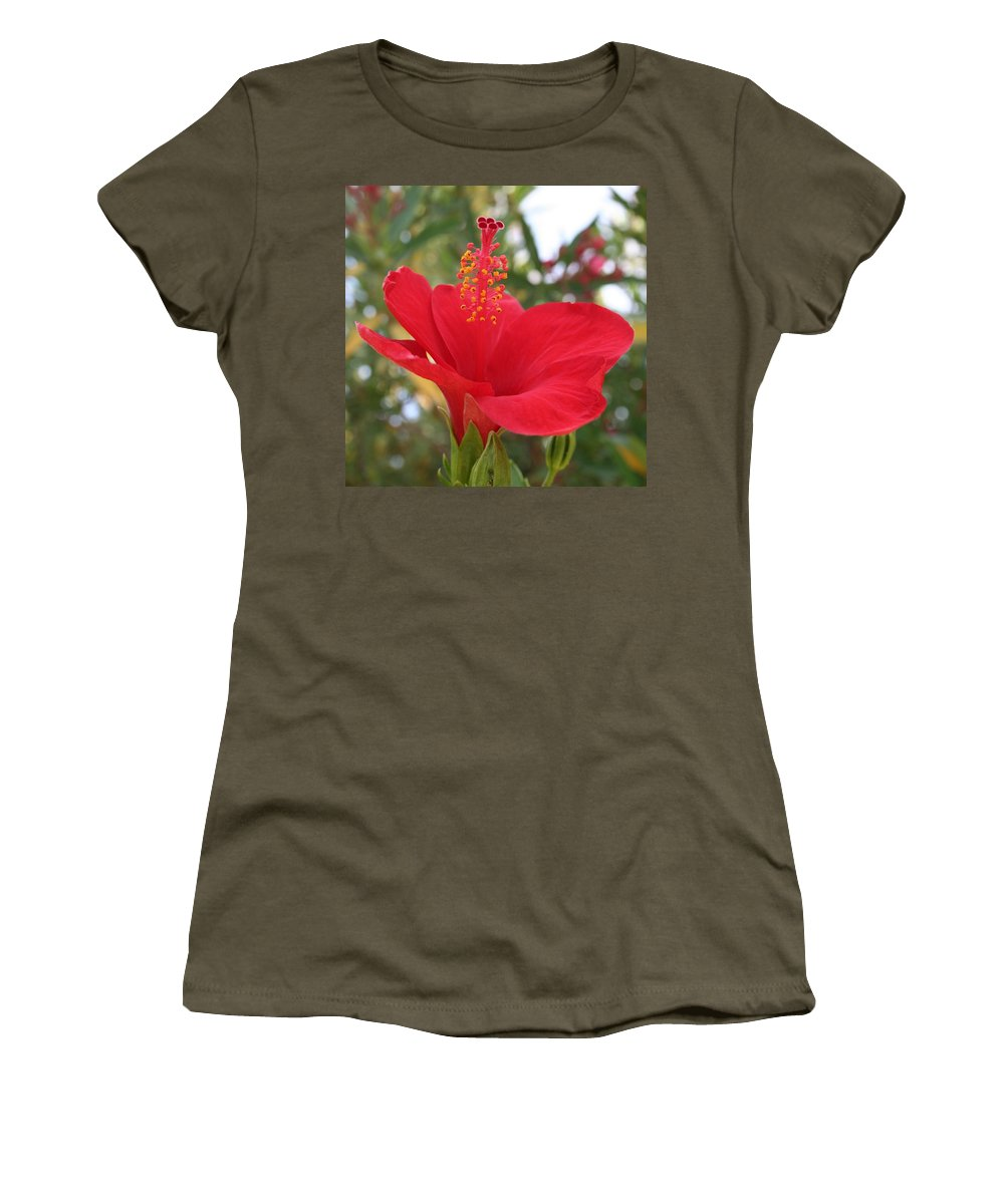 Hibiscus Women's T-Shirt featuring the photograph Soft Red Hibiscus With A Natural Garden Background by Taiche Acrylic Art