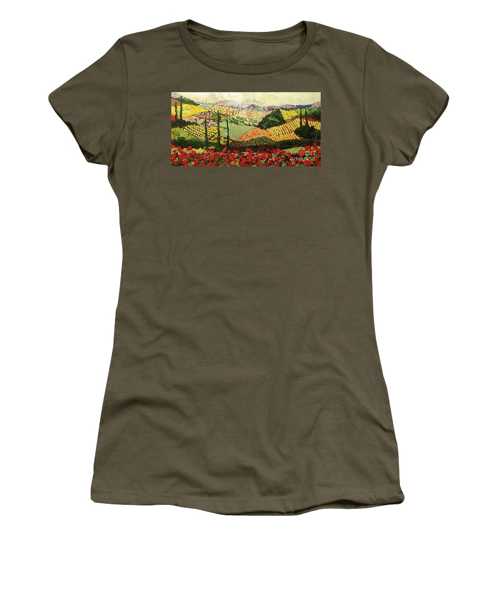 Landscape Women's T-Shirt (Athletic Fit) featuring the painting Something Red by Allan P Friedlander