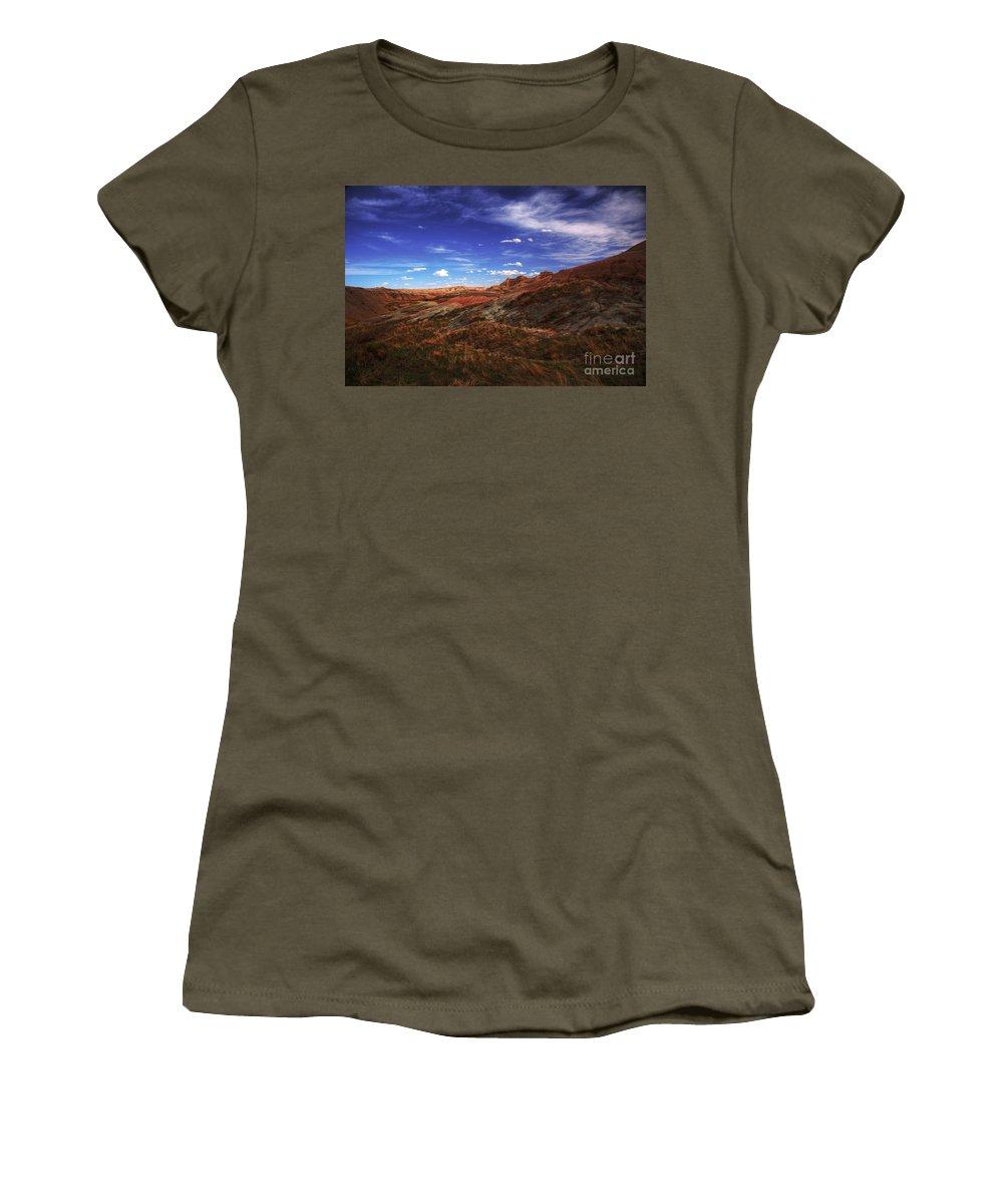Badlands Women's T-Shirt featuring the photograph South Dakota Badlands Beautiful Afternoon by Wayne Moran