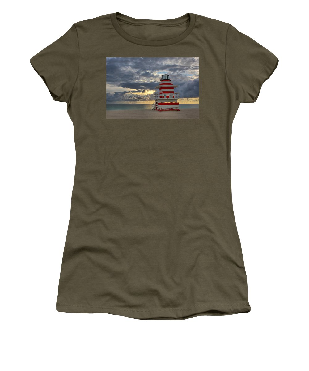 Usa Women's T-Shirt featuring the photograph South Pointe Park Lighthouse by Claudia Domenig