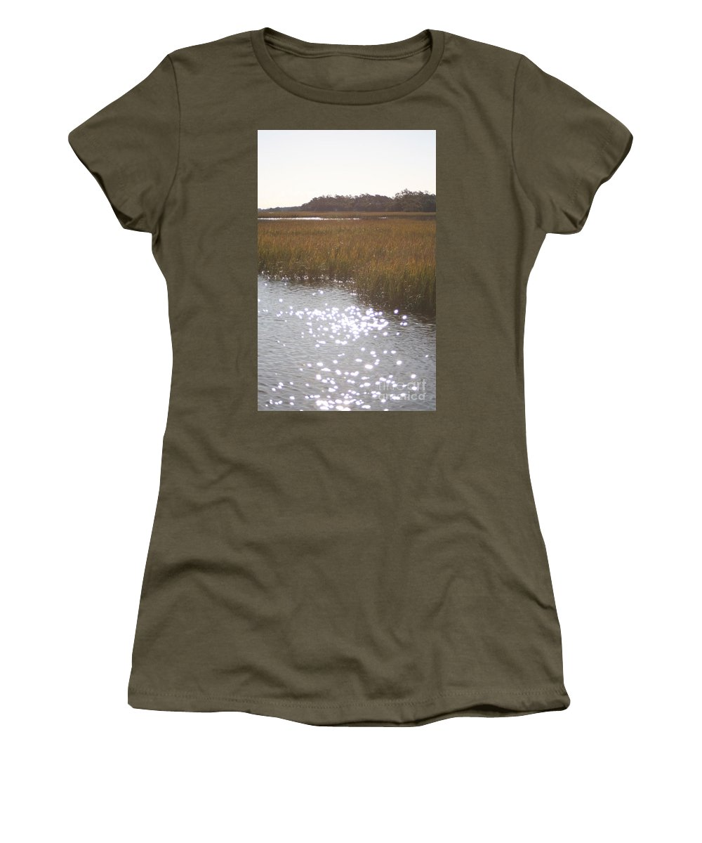 Marsh Women's T-Shirt (Athletic Fit) featuring the photograph Sparkling Marsh by Nadine Rippelmeyer