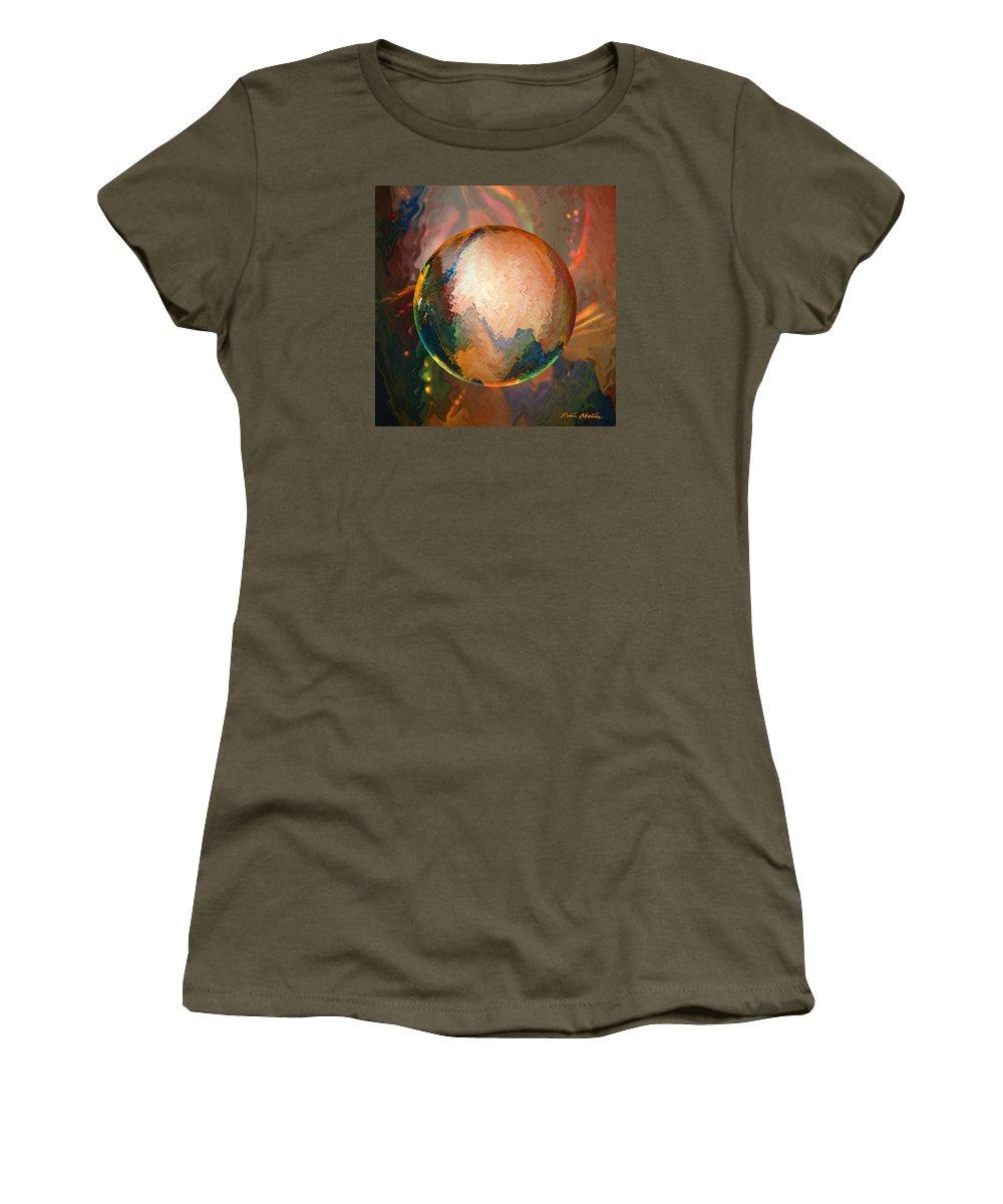 Lunar Vibrations Women's T-Shirt featuring the digital art Sphering Lunar Vibrations by Robin Moline
