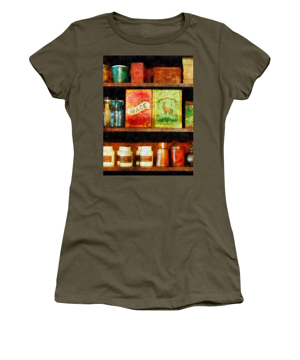 Spice Women's T-Shirt featuring the photograph Spices On Shelf by Susan Savad