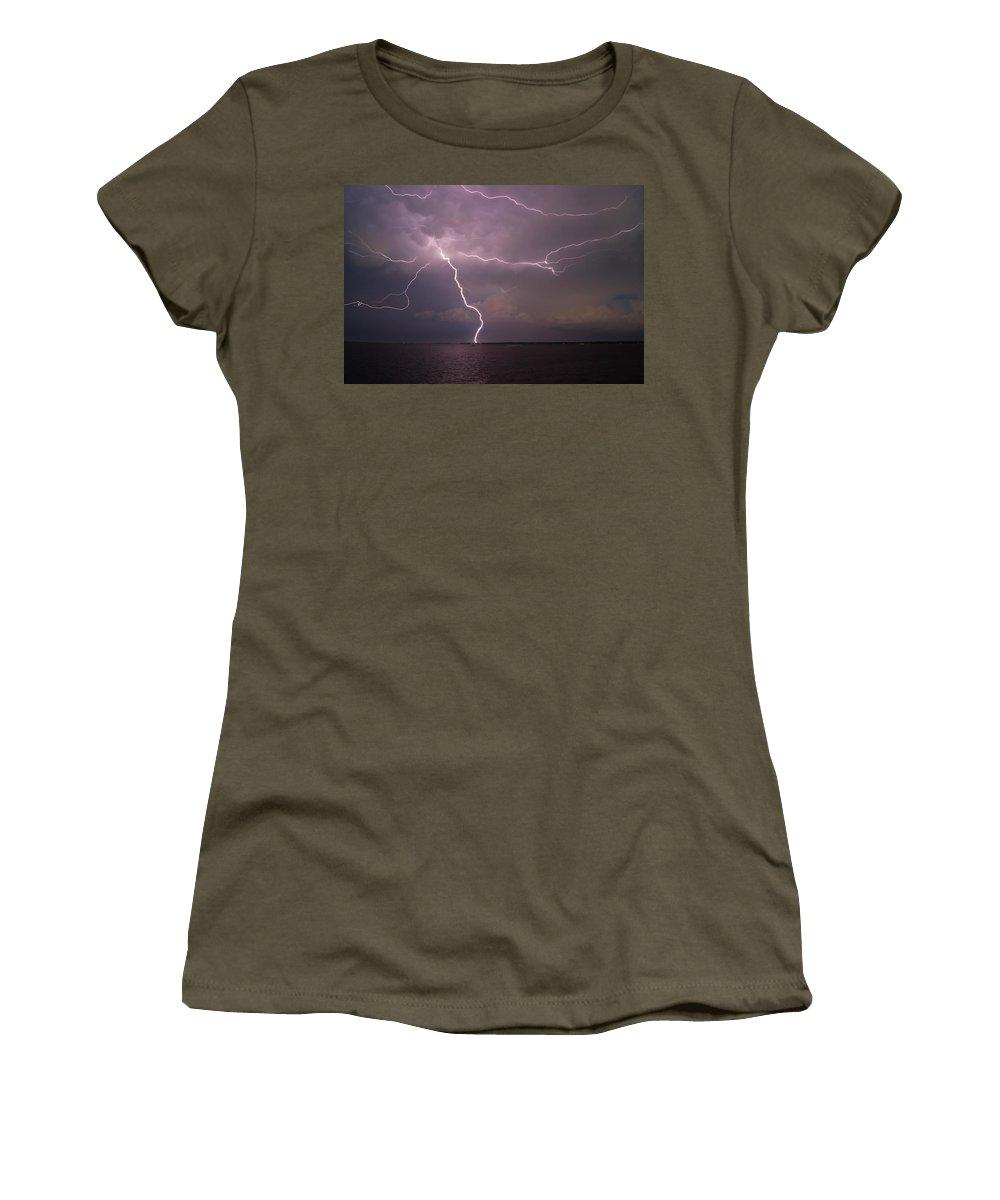 Charleston Women's T-Shirt featuring the photograph Spider Lightning Over Charleston Harbor by E Karl Braun