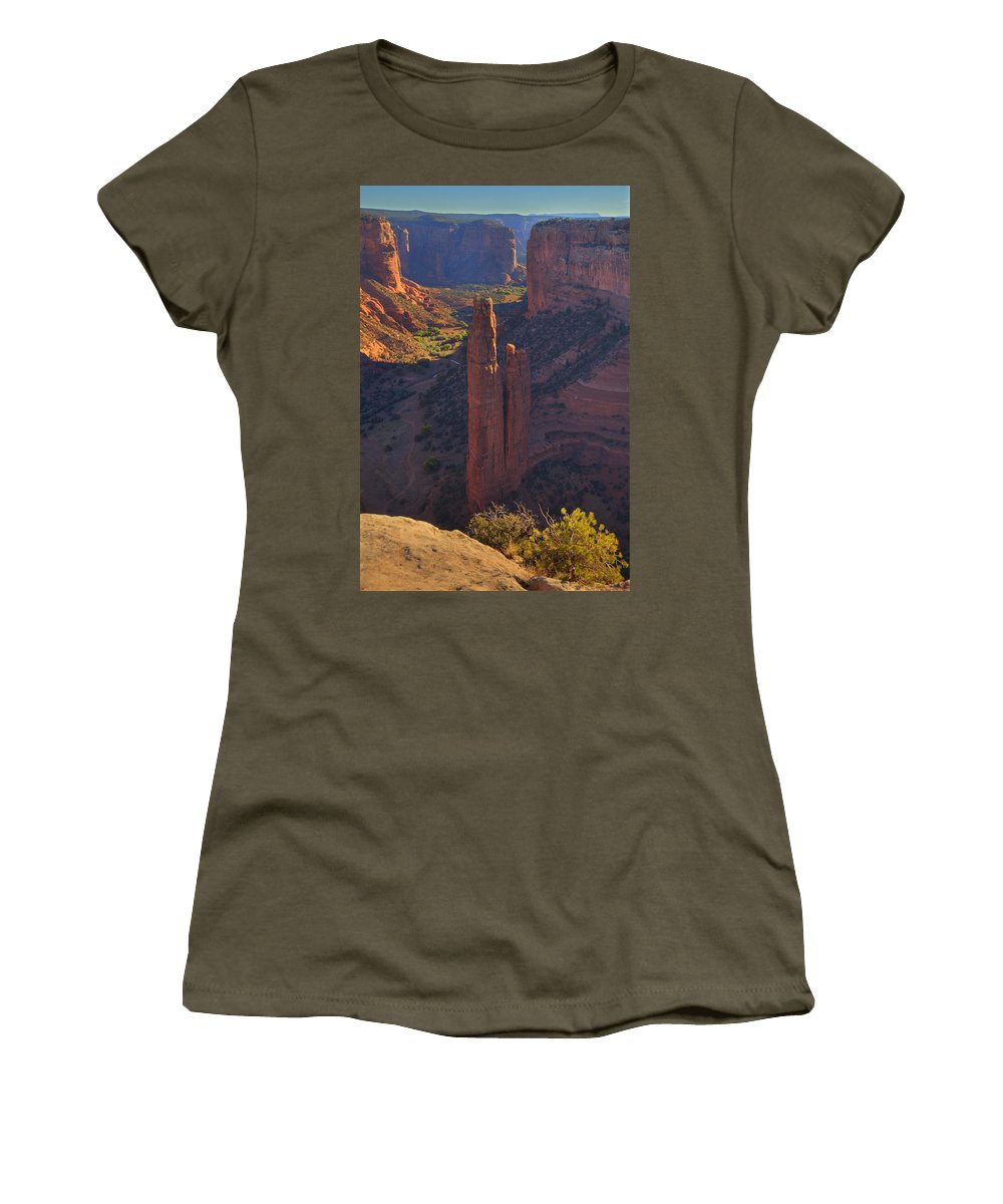 Spider Rock Women's T-Shirt featuring the photograph Spider Rock by Alan Vance Ley