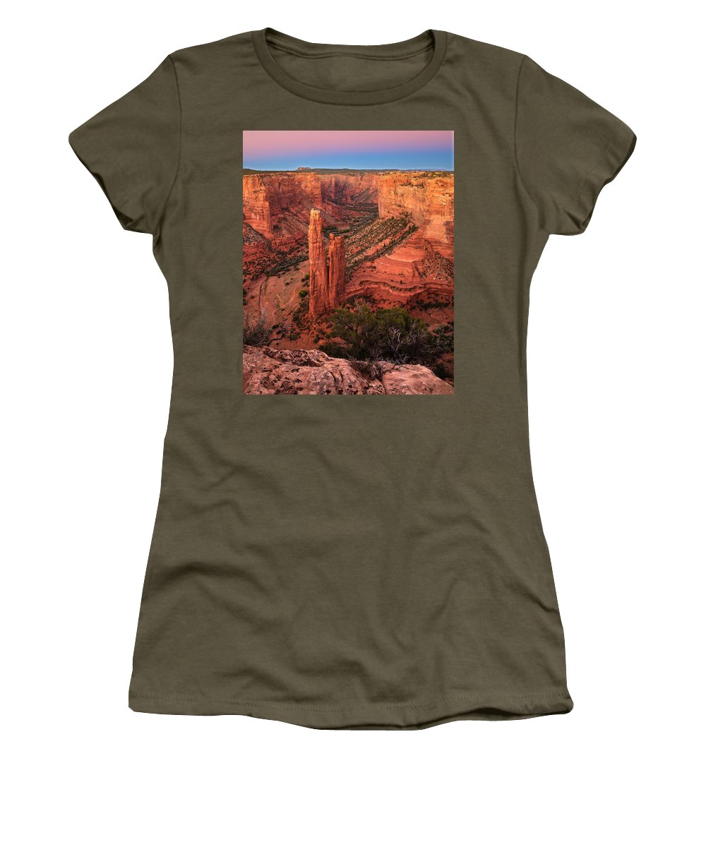 Spider Rock Women's T-Shirt featuring the photograph Spider Rock Sunset by Alan Vance Ley