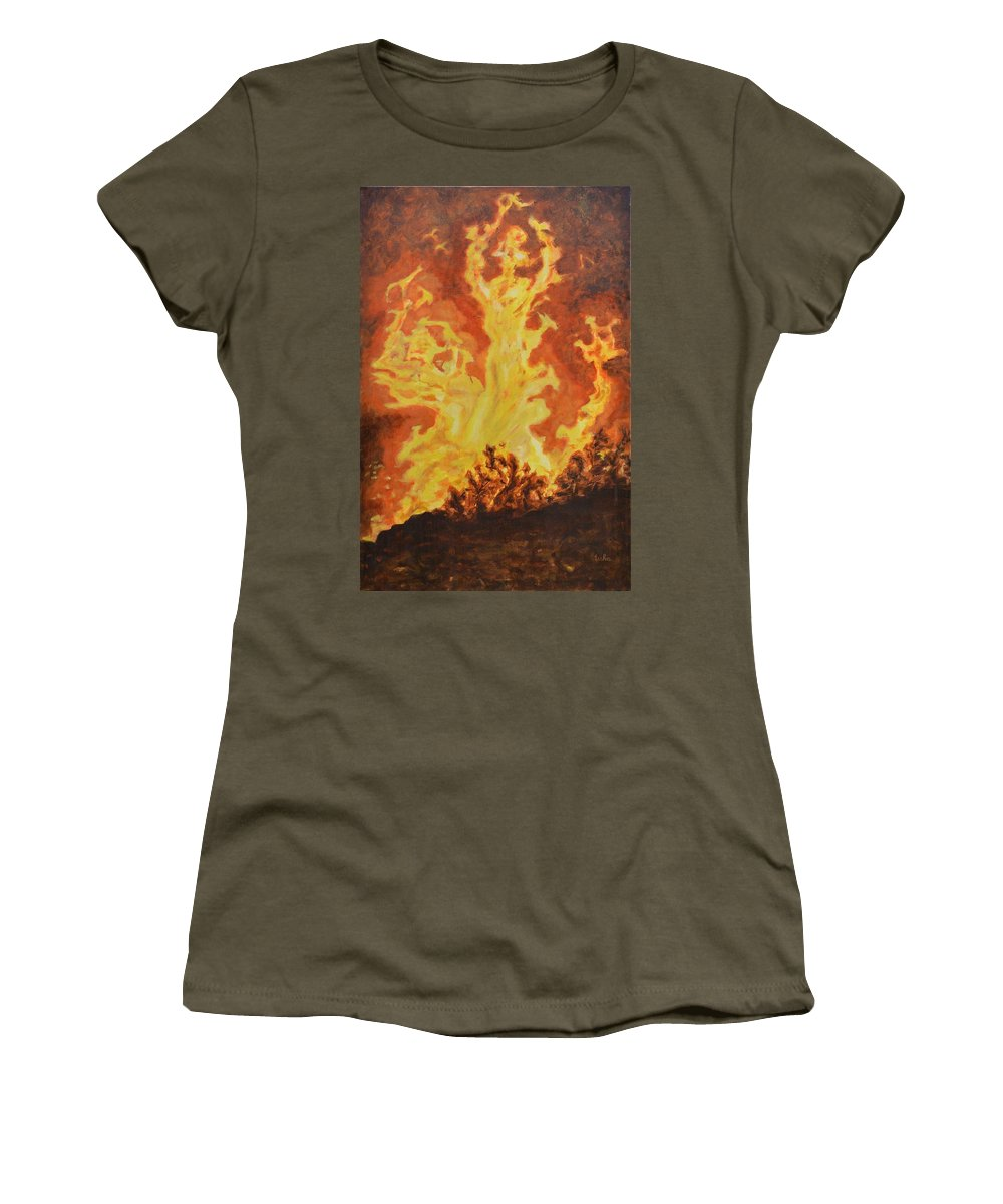 Sati Women's T-Shirt featuring the painting Spirits Of Sati by Usha Shantharam