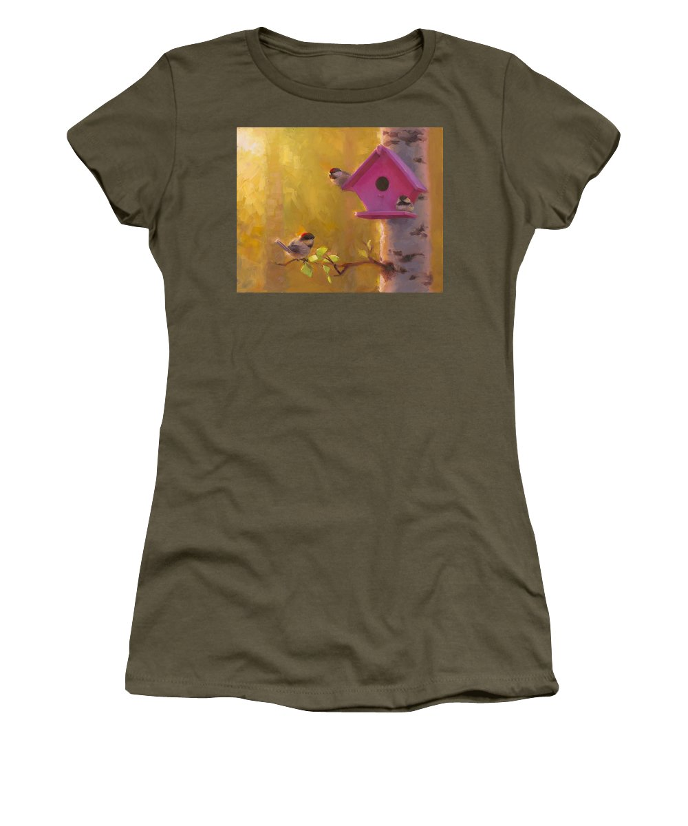 Chickadee Women's T-Shirt featuring the painting Spring Chickadees 1 - Birdhouse And Birch Forest by Karen Whitworth