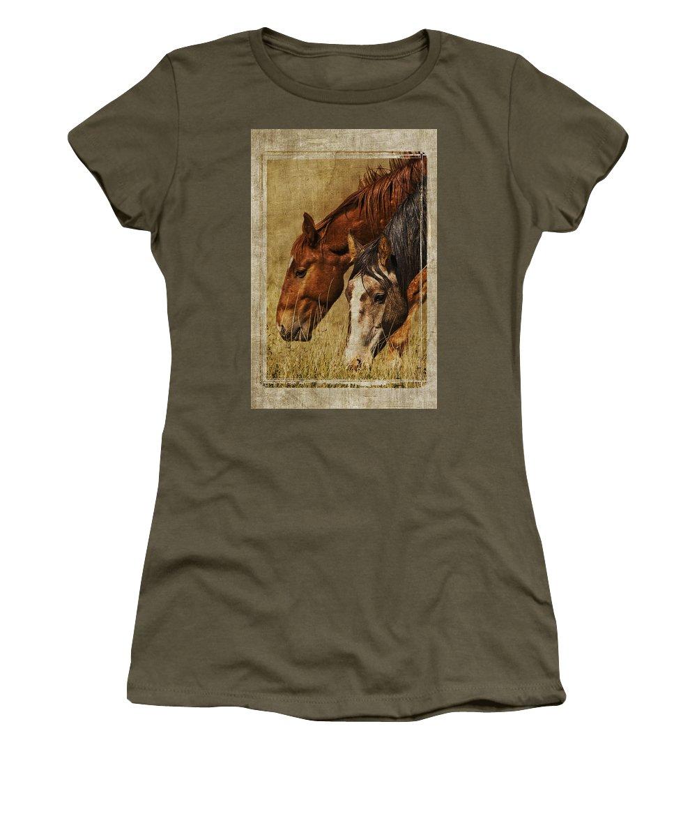 Spring Creek Basin Wild Horses Women's T-Shirt featuring the photograph Spring Creek Basin Wild Horses by Priscilla Burgers