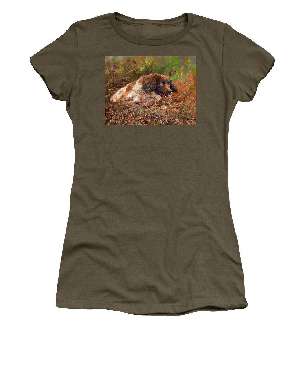 Springer Women's T-Shirt featuring the painting Springer Spaniel 2 by David Stribbling
