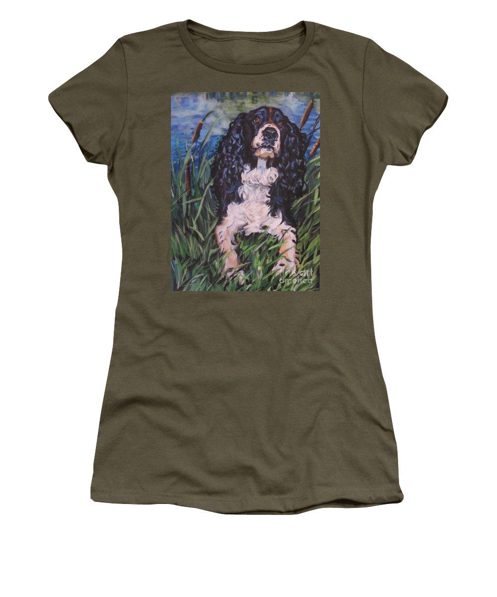 Springer Spaniel Women's T-Shirt featuring the painting Springer Spaniel by Lee Ann Shepard
