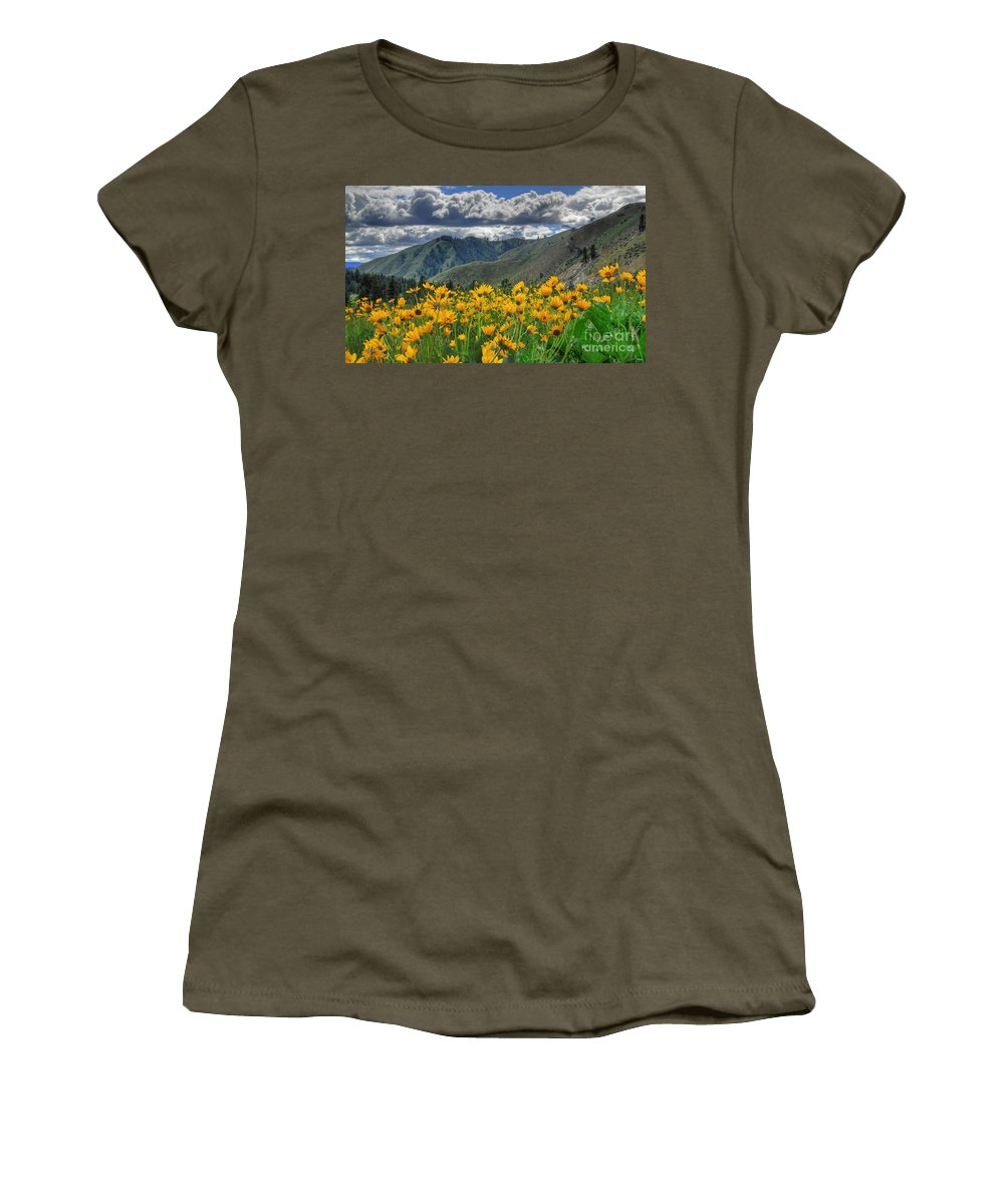 Garden Valley Women's T-Shirt (Athletic Fit) featuring the photograph Springtime At Gallagher by Sam Rosen