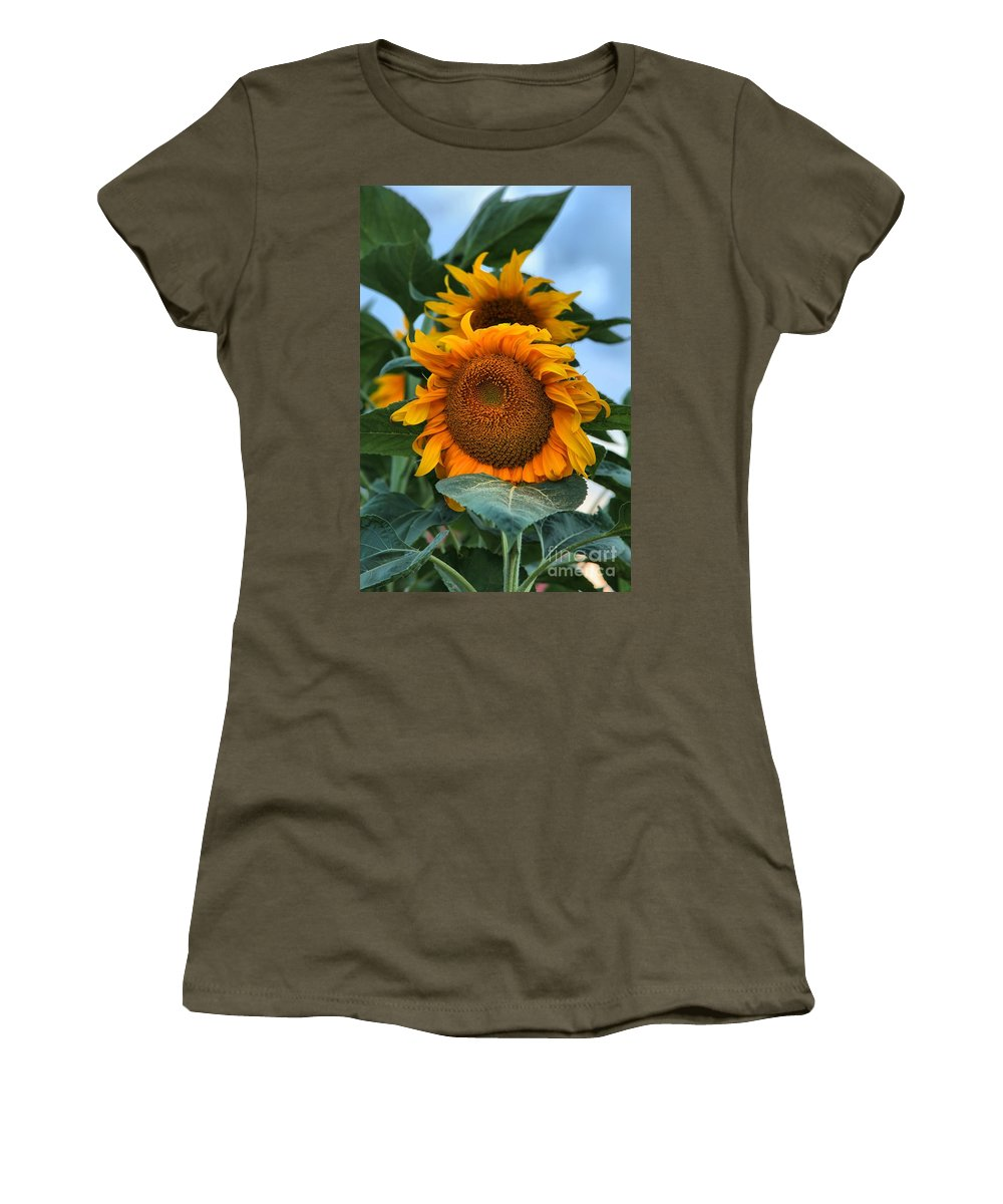 Sunflowers Women's T-Shirt featuring the photograph Squamish Sunflower Portrait by Adam Jewell