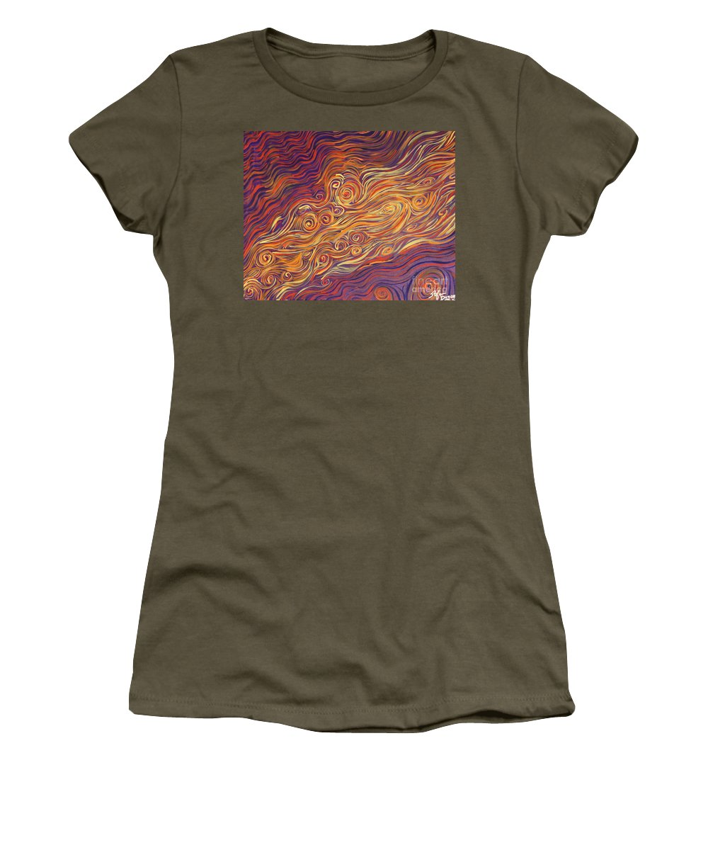 Squiggles Women's T-Shirt featuring the painting Squiggle Stream by Stefan Duncan