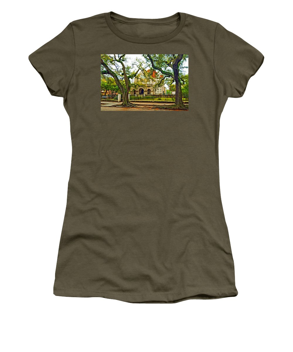 Home Women's T-Shirt featuring the photograph St. Charles Ave. Mansion Paint by Steve Harrington