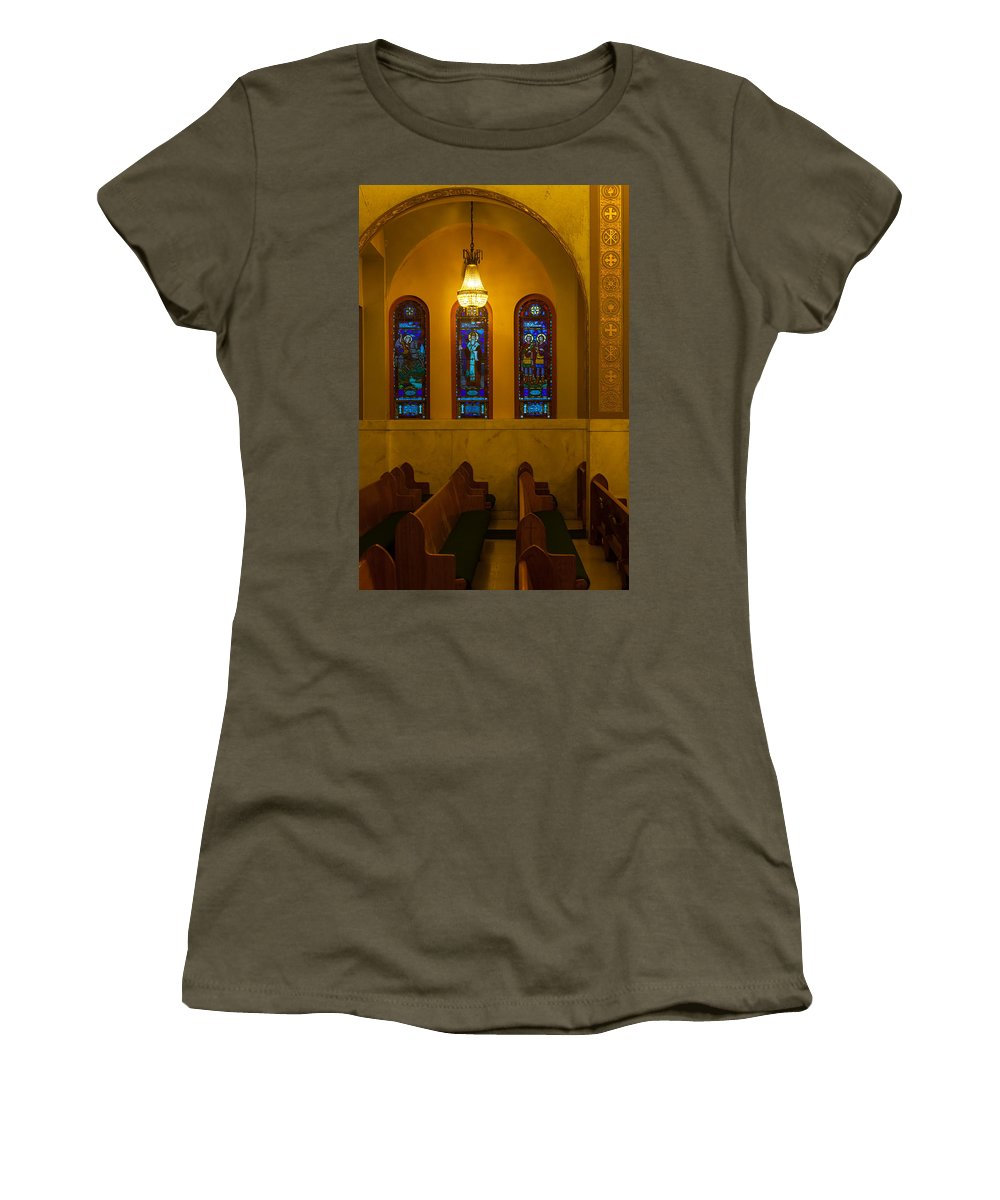 1948 Women's T-Shirt featuring the photograph Stained Glass Windows At St Sophia by Ed Gleichman