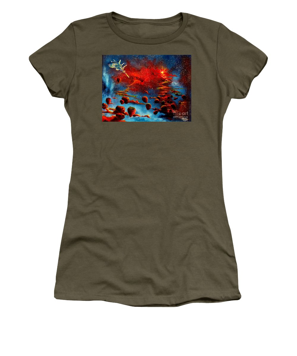 Nova Women's T-Shirt (Athletic Fit) featuring the painting Starberry Nova Alien Excape by Murphy Elliott