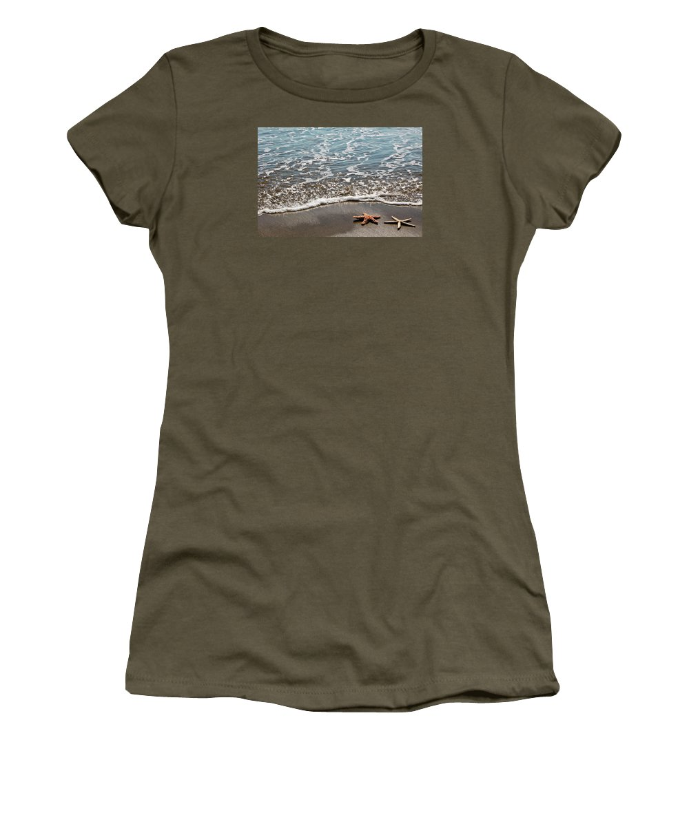 Star Fish Women's T-Shirt featuring the photograph Starfish Catching The Waves by Athena Mckinzie