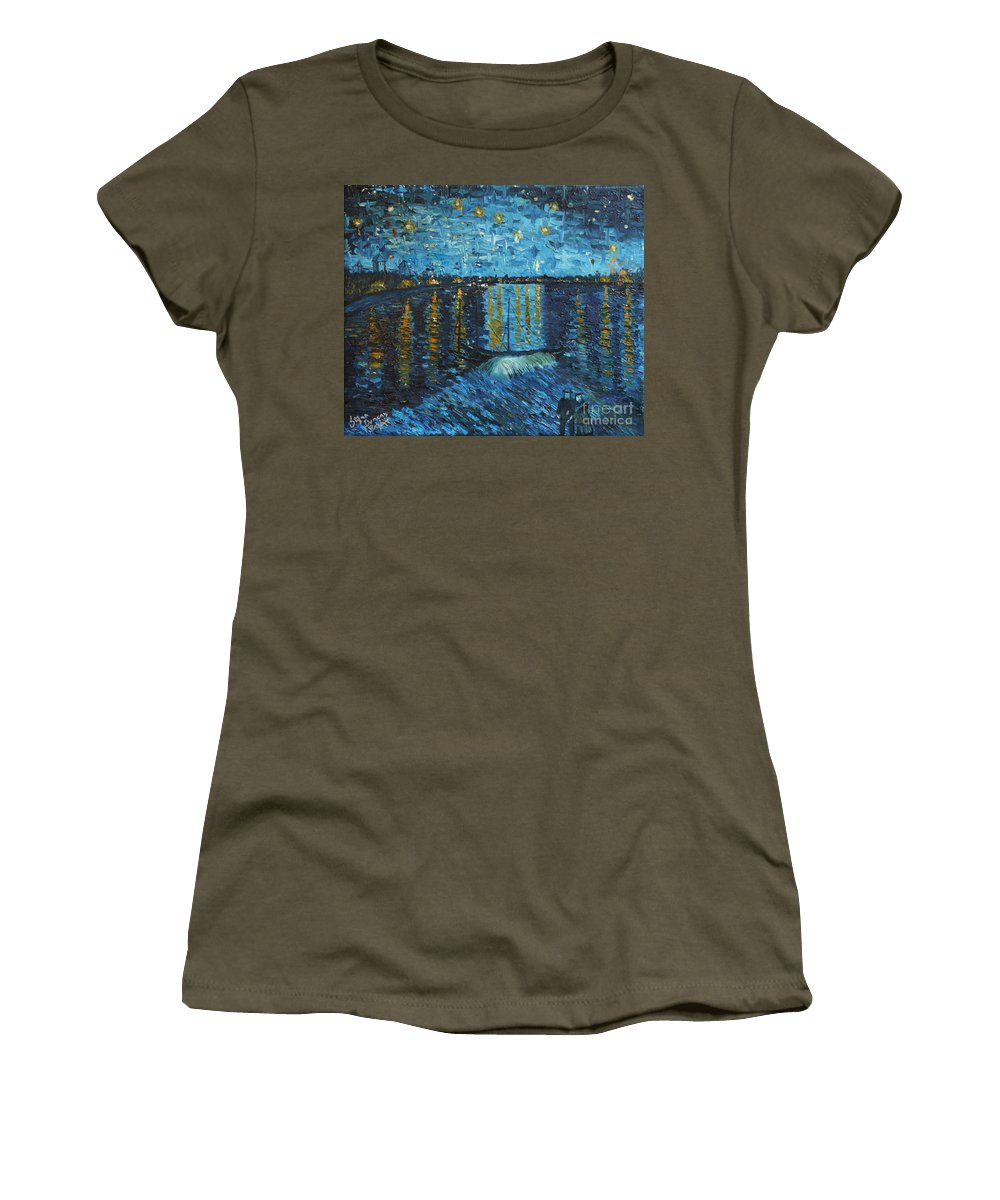 Landscape Women's T-Shirt (Athletic Fit) featuring the painting Starry Night Over The Rhone by Stefan Duncan