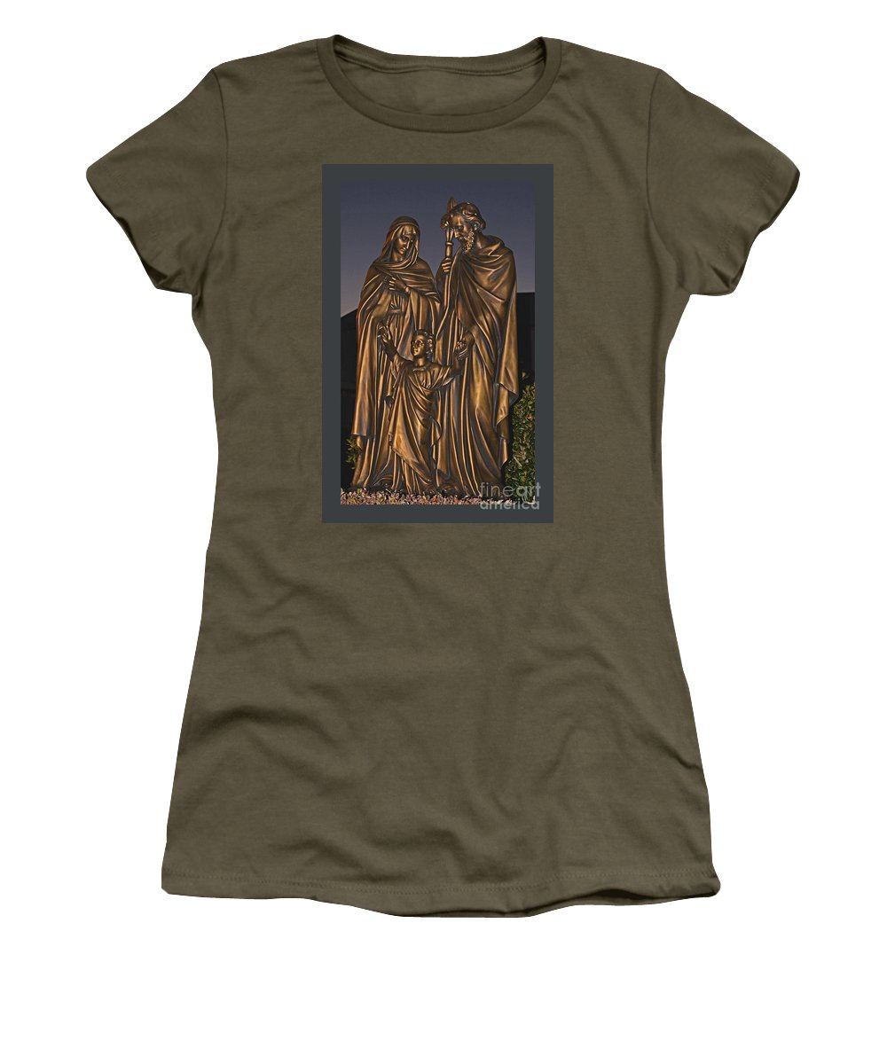 Statue Women's T-Shirt featuring the photograph Statue Of The Holy Family by Barb Dalton