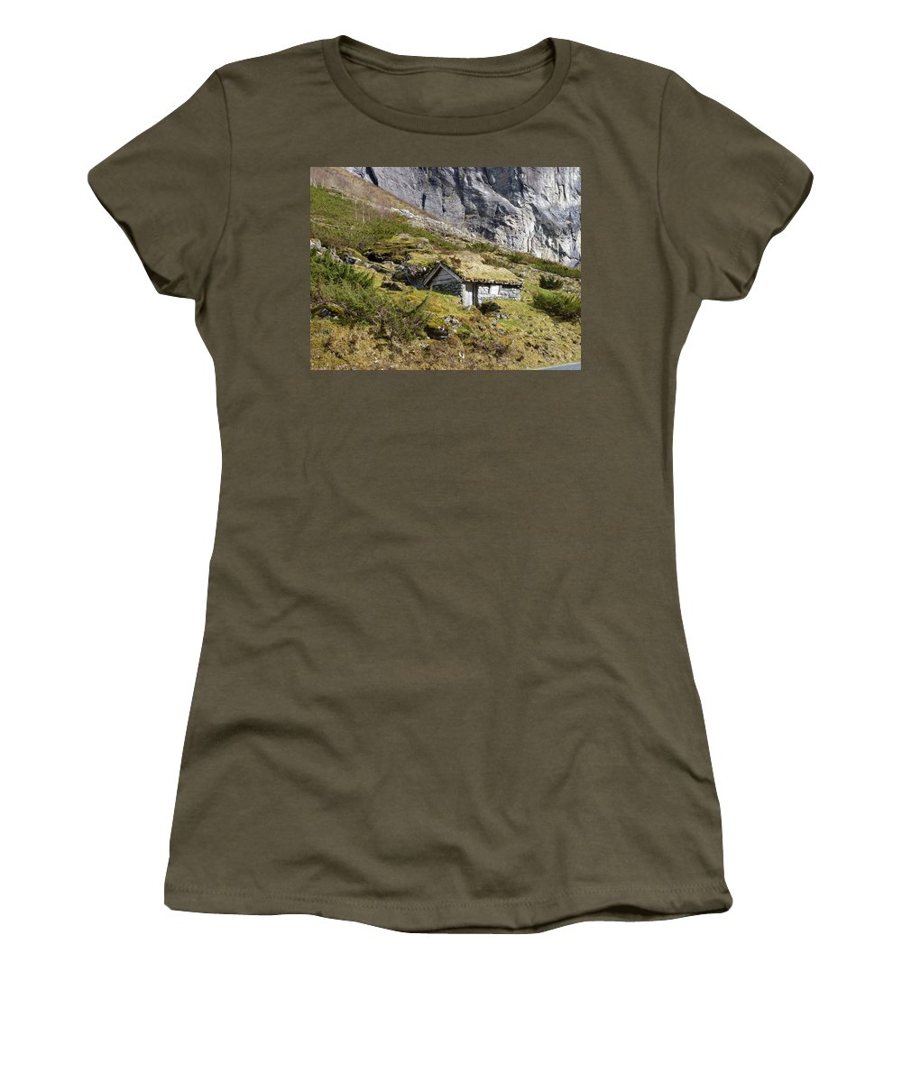 Women's T-Shirt (Athletic Fit) featuring the photograph Stavbergsetra - Cowherd Huts by Katerina Naumenko