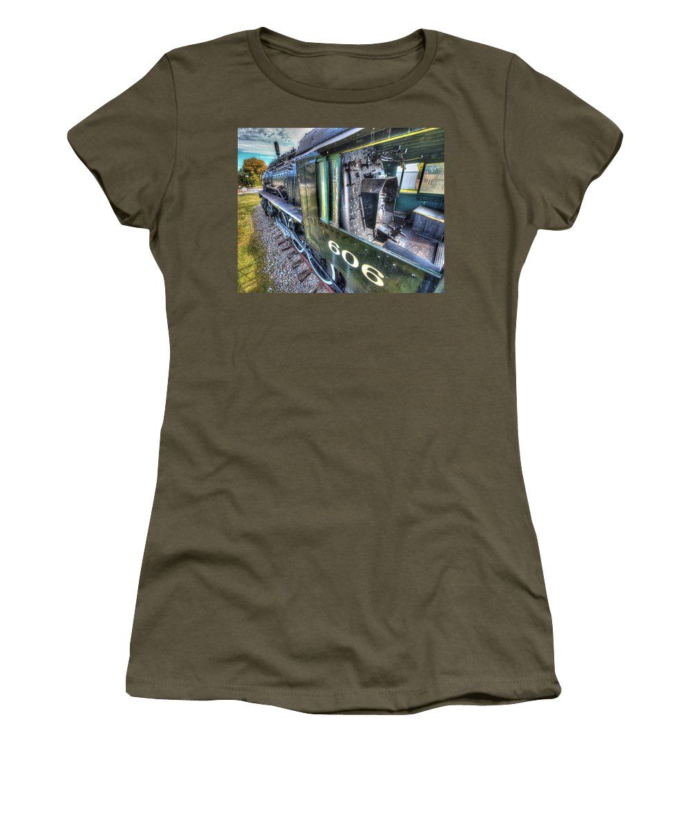 Historic Women's T-Shirt (Athletic Fit) featuring the photograph Steam Locomotive Norfolk And Western No. 606 by Greg Hager