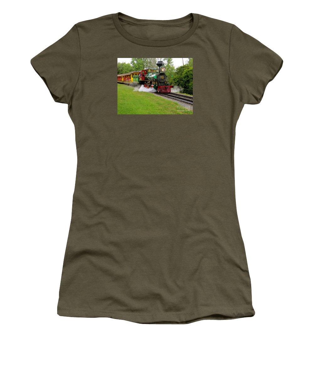 Working Steam Trains Women's T-Shirt featuring the photograph Steam Train by Joy Hardee