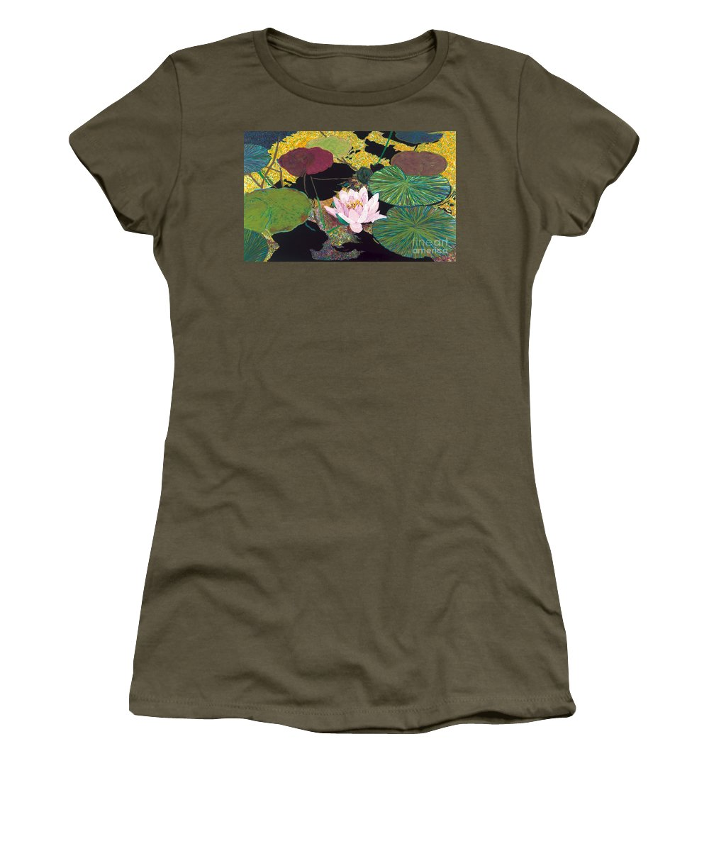 Landscape Women's T-Shirt (Athletic Fit) featuring the painting Steamy Pond by Allan P Friedlander