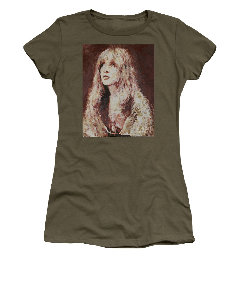 Stevie Nicks Women's T-Shirt (Athletic Fit) featuring the painting Stevie Nicks by Alys Caviness-Gober