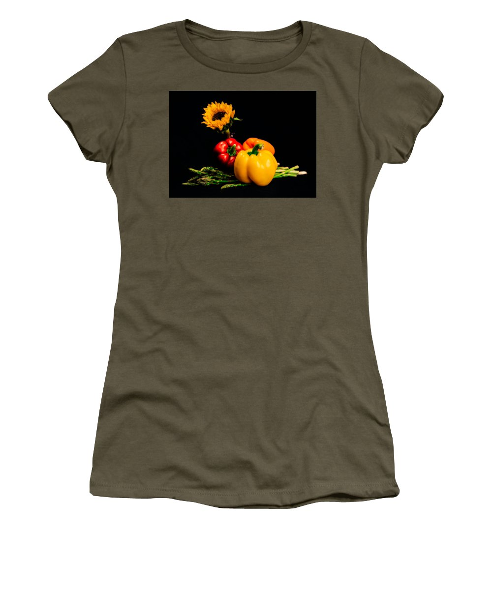 Sunflower Women's T-Shirt featuring the photograph Still Life Peppers Asparagus Sunflower by Jon Woodhams