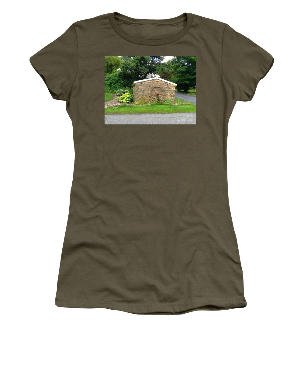 Stonewall Women's T-Shirt featuring the photograph Stone Well Cover And Wheel by Becky Lupe