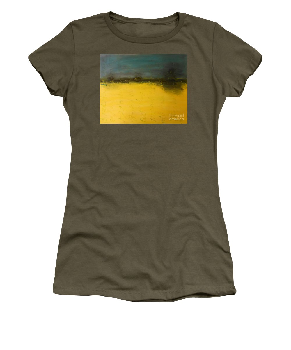 Blue Women's T-Shirt featuring the painting Stop And Breathe by Kitty Mecham