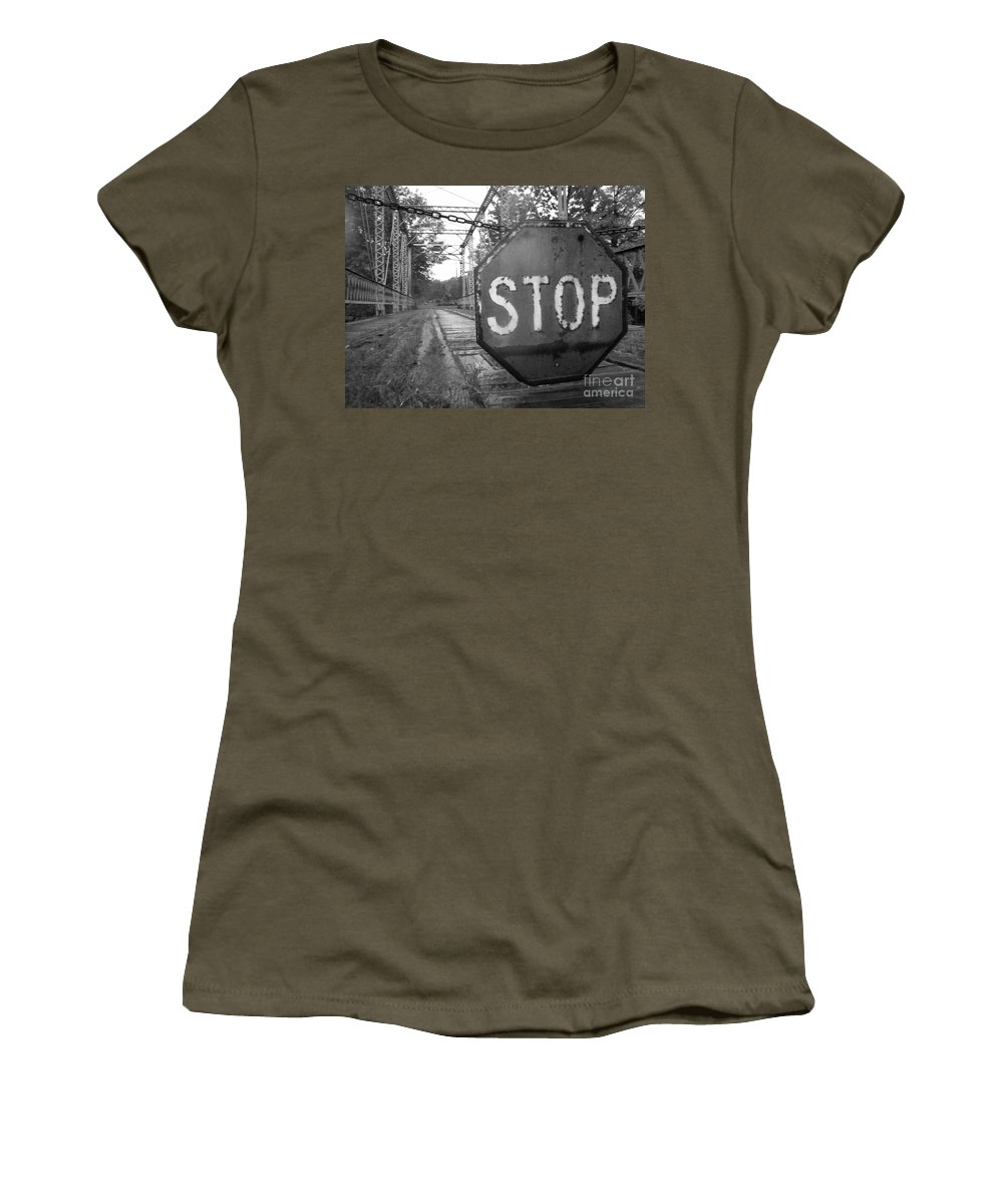 Stop Sign Women's T-Shirt featuring the photograph Stop Sign by Michael Krek