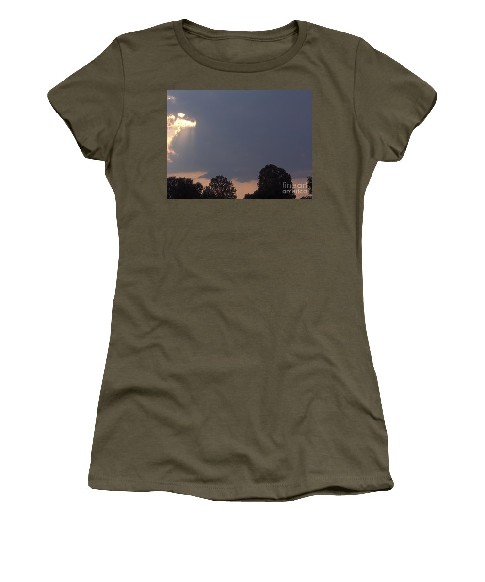 Clouds Women's T-Shirt featuring the photograph Storm At Sunset by D Hackett