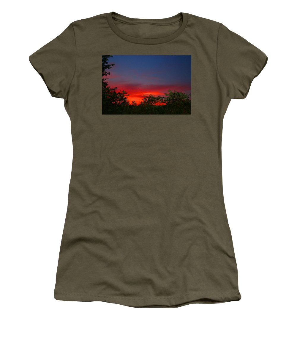 Sunset Women's T-Shirt featuring the photograph Sumac Sunset by Kathryn Meyer