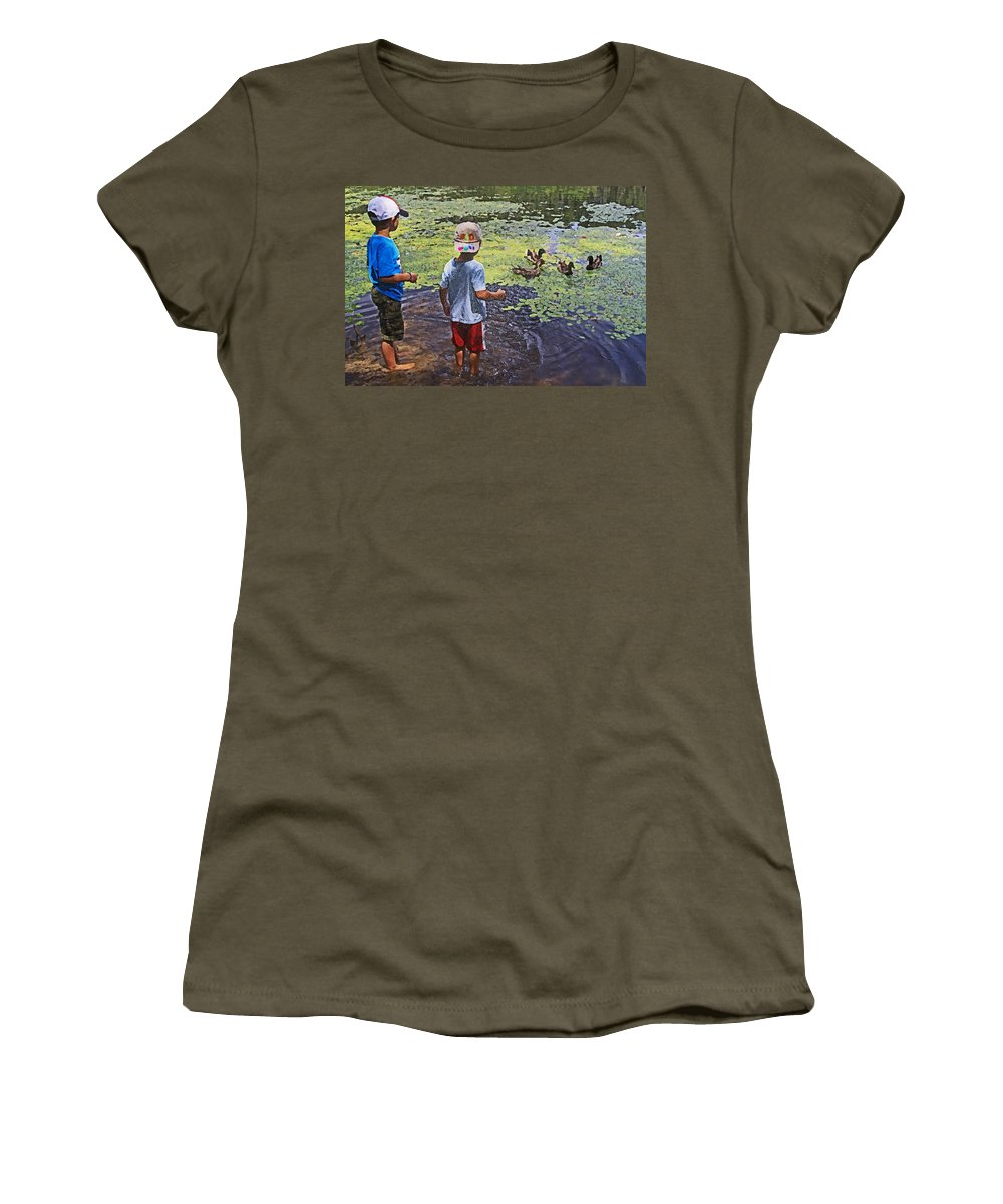 Pond Women's T-Shirt featuring the photograph Summer Day At The Pond by Ronnie Corn