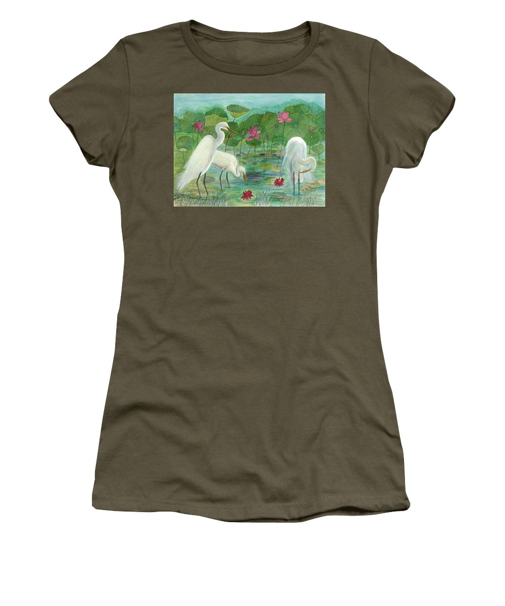 Lily Pads; Egrets; Low Country Women's T-Shirt (Athletic Fit) featuring the painting Summer Trilogy by Ben Kiger